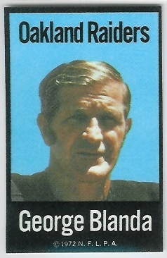 George Blanda 1972 NFLPA Iron Ons football card