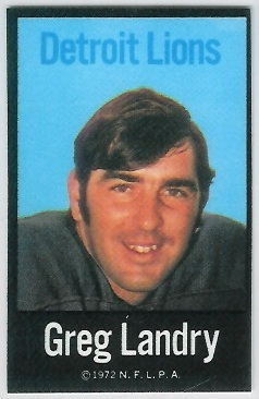 Greg Landry 1972 NFLPA Iron Ons football card