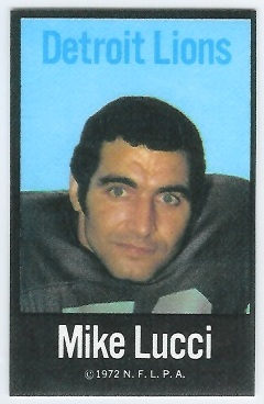 Mike Lucci 1972 NFLPA Iron Ons football card
