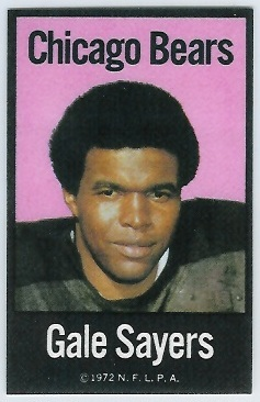 Gale Sayers 1972 NFLPA Iron Ons football card