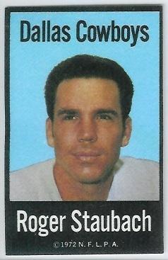Roger Staubach 1972 NFLPA Iron Ons football card