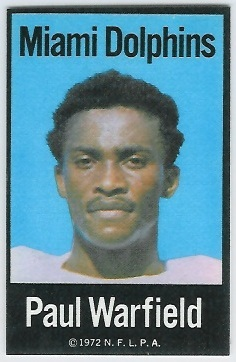 Paul Warfield 1972 NFLPA Iron Ons football card