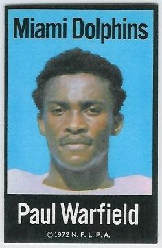 Paul Warfield 1972 NFLPA Iron Ons football card