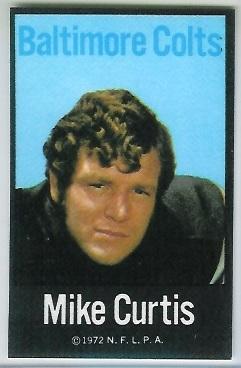 Mike Curtis 1972 NFLPA Iron Ons football card