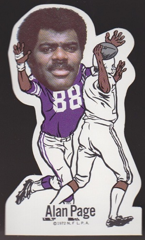 Alan Page 1972 NFLPA Vinyl Stickers football card