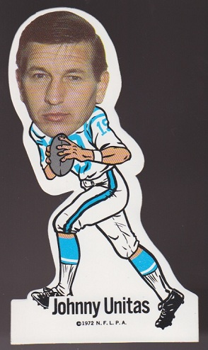 John Unitas 1972 NFLPA Vinyl Stickers football card