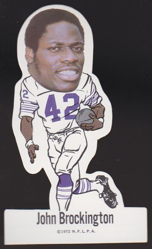 John Brockington 1972 NFLPA Vinyl Stickers football card