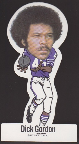 Dick Gordon 1972 NFLPA Vinyl Stickers football card