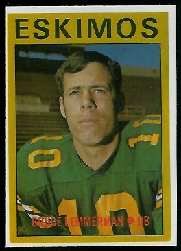 Bruce Lemmerman 1972 O-Pee-Chee CFL football card