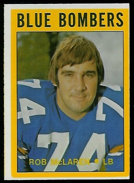 Rob McLaren 1972 O-Pee-Chee CFL football card