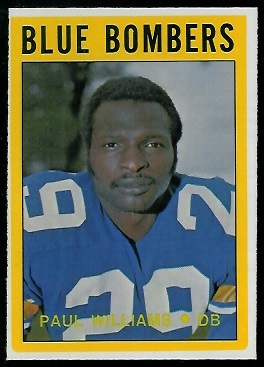 Paul Williams 1972 O-Pee-Chee CFL football card