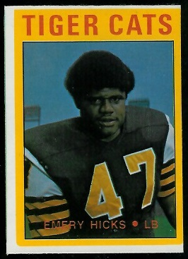 Emery Hicks 1972 O-Pee-Chee CFL football card