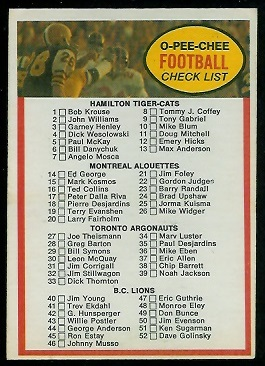 Checklist 1972 O-Pee-Chee CFL football card