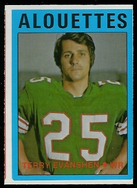 Terry Evanshen 1972 O-Pee-Chee CFL football card