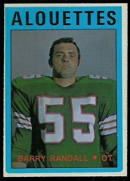 Barry Randall 1972 O-Pee-Chee CFL football card