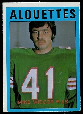 Mike Widger 1972 O-Pee-Chee CFL football card