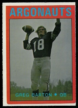 Greg Barton 1972 O-Pee-Chee CFL football card