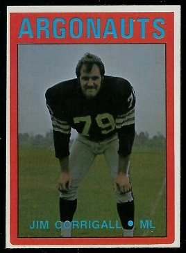 Jim Corrigall 1972 O-Pee-Chee CFL football card