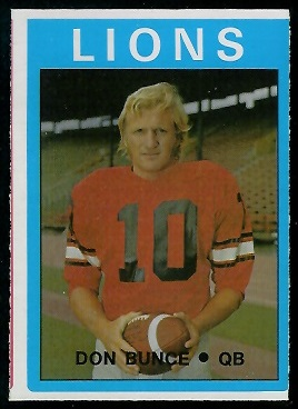 Don Bunce 1972 O-Pee-Chee CFL football card