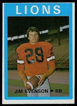 Jim Evenson 1972 O-Pee-Chee CFL football card