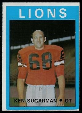 Ken Sugarman 1972 O-Pee-Chee CFL football card