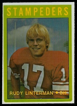 Rudy Linterman 1972 O-Pee-Chee CFL football card