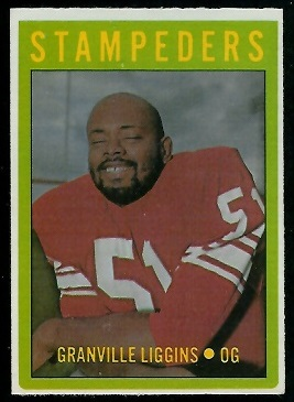 Granville Liggins 1972 O-Pee-Chee CFL football card
