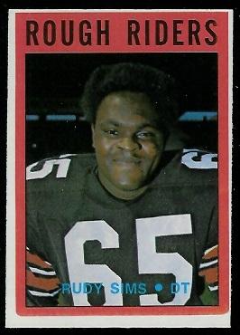 Rudy Sims 1972 O-Pee-Chee CFL football card