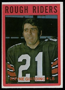 Wayne Giardino 1972 O-Pee-Chee CFL football card