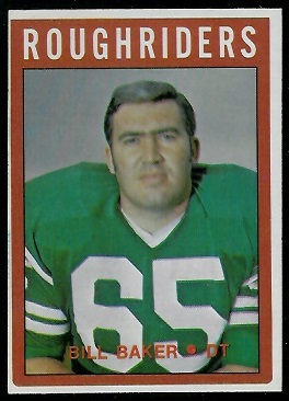 Bill Baker 1972 O-Pee-Chee CFL football card