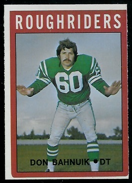 Don Bahnuik 1972 O-Pee-Chee CFL football card