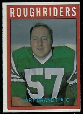 Gary Brandt 1972 O-Pee-Chee CFL football card