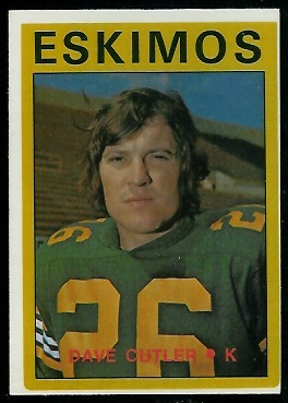 Dave Cutler 1972 O-Pee-Chee CFL football card