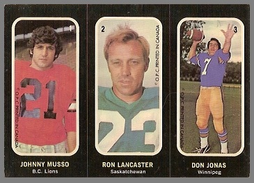 Johnny Musso, Ron Lancaster, Don Jonas 1972 O-Pee-Chee Stickers football card
