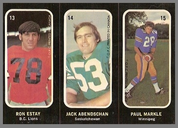 Ron Estay, Jack Abendschan, Paul Markle 1972 O-Pee-Chee Stickers football card