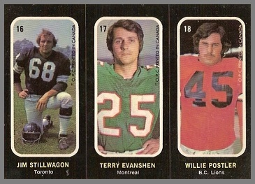 Jim Stillwagon, Terry Evanshen, Willie Postler 1972 O-Pee-Chee Stickers football card