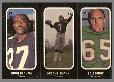 Hugh Oldham, Joe Theismann, Ed George 1972 O-Pee-Chee Stickers football card