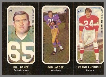 Bill Baker, Bob LaRose, Frank Andruski 1972 O-Pee-Chee Stickers football card