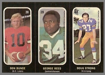 Don Bunce, George Reed, Doug Strong 1972 O-Pee-Chee Stickers football card