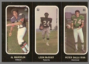 Al Marcelin, Leon McQuay, Peter Dalla Riva 1972 O-Pee-Chee Stickers football card