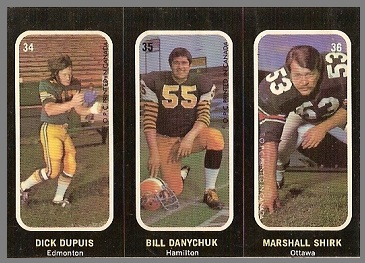 Dick Dupuis, Bill Danychuk, Marshall Shirk 1972 O-Pee-Chee Stickers football card