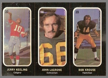 Jerry Keeling, John Lagrone, Bob Krouse 1972 O-Pee-Chee Stickers football card