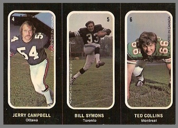 Jerry Campbell, Bill Symons, Ted Collins 1972 O-Pee-Chee Stickers football card