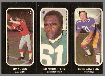 Jim Young, Ed McQuarters, Gene Lakusiak 1972 O-Pee-Chee Stickers football card
