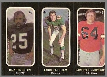 Dick Thornton, Larry Fairholm, Garrett Hunsperger 1972 O-Pee-Chee Stickers football card