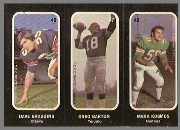 Dave Braggins, Greg Barton, Mark Kosmos 1972 O-Pee-Chee Stickers football card