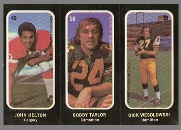 John Helton, Bobby Taylor, Dick Wesolowski 1972 O-Pee-Chee Stickers football card