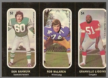 Don Bahnuik, Rob McLaren, Granville Liggins 1972 O-Pee-Chee Stickers football card