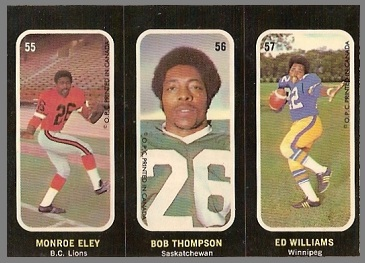 Monroe Eley, Bob Thompson, Ed Williams 1972 O-Pee-Chee Stickers football card