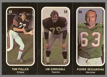 Tom Pullen, Jim Corrigall, Pierre Desjardins 1972 O-Pee-Chee Stickers football card